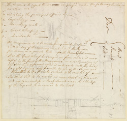 Note written on the reverse of an architectural drawing